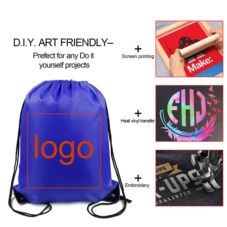 Free Sample Wholesale Cheap promotional Customized color Handled Polyester Drawstring Bag
