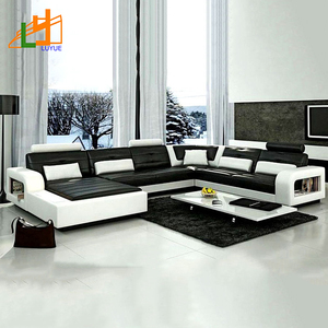 customized european style luxury furniture l shaped corner couch set real leather modern sofa