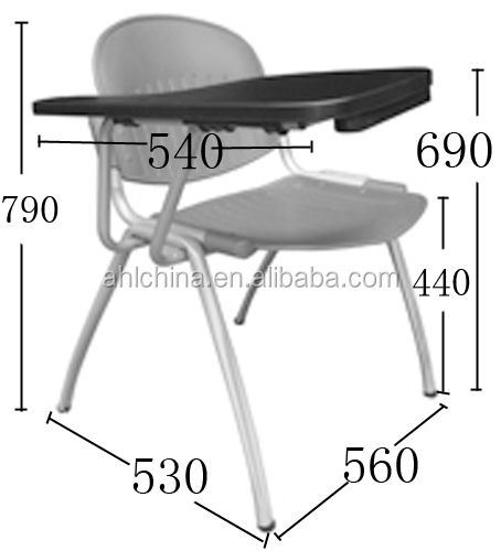 Plastic school stackable chair with cushion with writing tablet pad