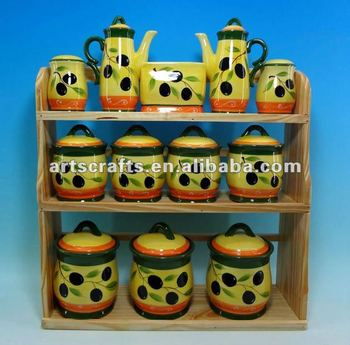 Ceramic 12pcs spice set with wooden stand