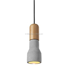 Cement industrial hanging light concrete pendant lamp with wooden head