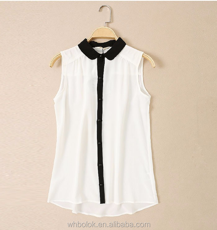Wholesale factory OEM lady sleeveless shirt chiffon tops wuhan garments apparel