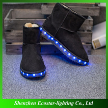 Winter Boots LED Shoes Black Light Up Shoes Luminous Women USB Charging Colorful Glowing boots
