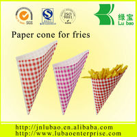 Cone Shaped Packaging Customized Printing Fast Food Paper Cone&Holder For Fries&Snack