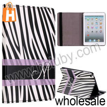 Zebra-Stripe Stand Folio Cover Leather Case for iPad Mini/Retina iPad Mini with Elastic Strap
