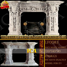 white marble stone fireplace mantel LF0083