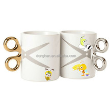 bee noble brand ceramic mug with scissor handle made in china gifts for hairdresser