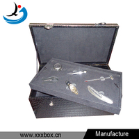 high quality glossy leather wine bottle presentation box with accessories