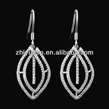 2014 hot sale 925 silver jewelry wholesale CZ micro pave earring