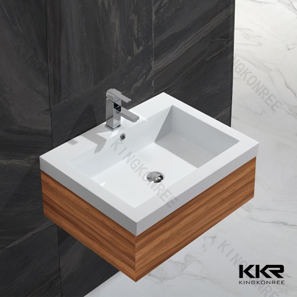 Single Bowl Stone Resin Gel Coat Wash Basins , Cabinet Basins