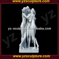 outdoor decoration carved white marble three Graces nude girls statues