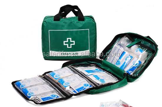 Construction industrial office house clud used premium emergency first aid nylon kit with 61pcs medical components included