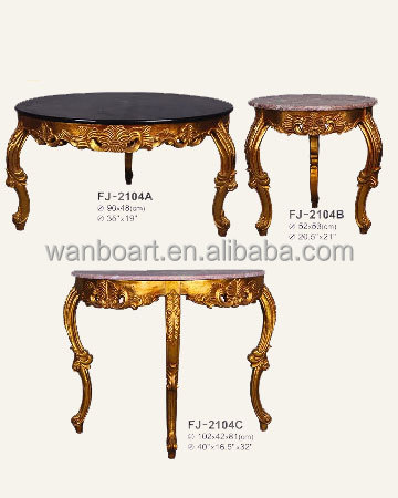 2104 handmade gold color wooden carved table with marble
