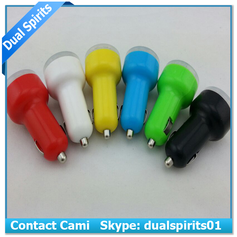 Cheap Wholesale Colorful Dual USB Car Charger for iphone Promotional customized mini Universal USB Car Charger supplier