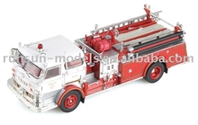 High quality red and silver color diecast plastic fire engine models antique fire trucks for sale