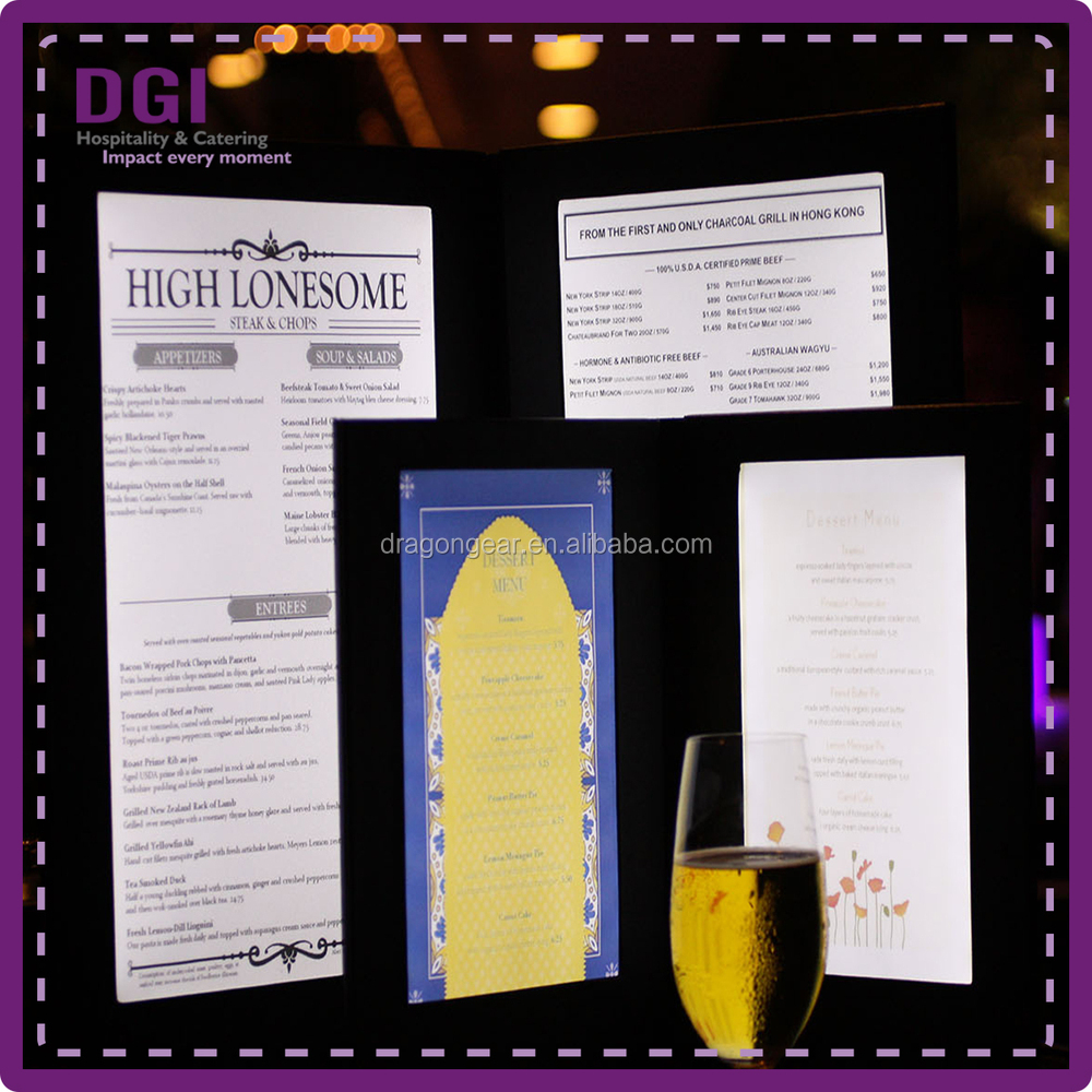 new menu cover/ long operation time lighted sign holder/ black leather menu (Patent 2014-2-0239452.0)