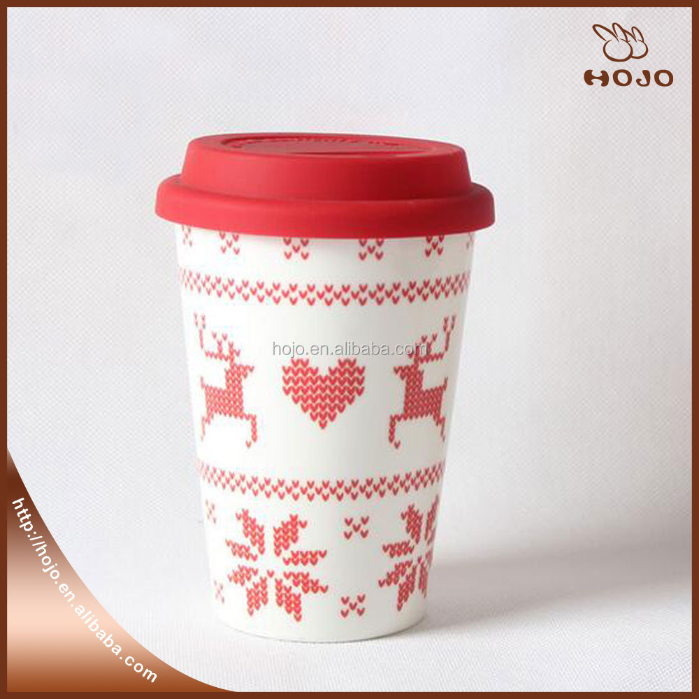 Custom coffee Ceramic porcelain with silicone mug with x-mas drawing for travel