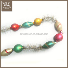 Artificial glass ball christmas garland