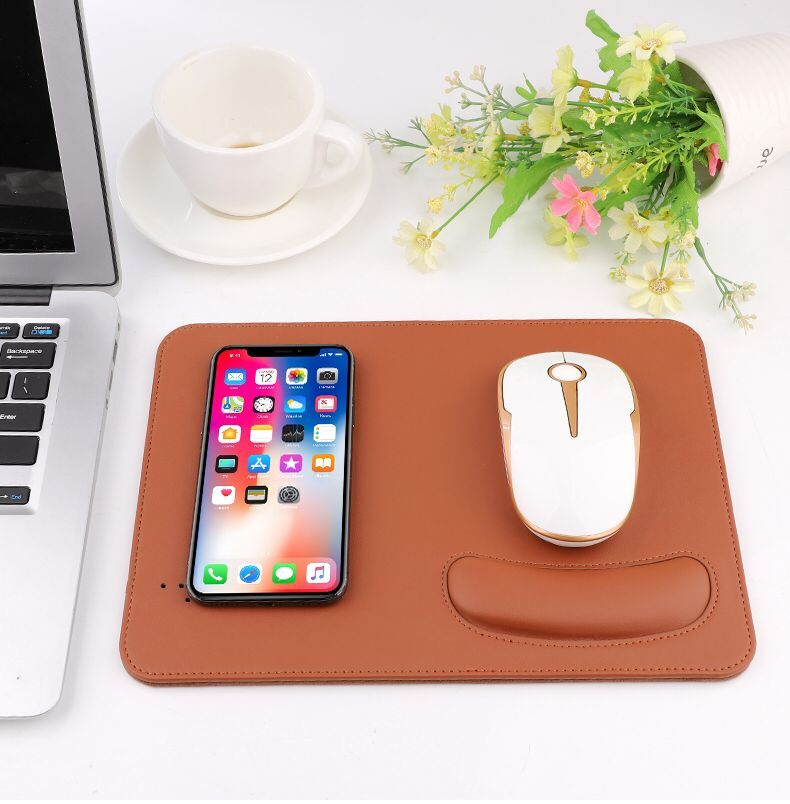 5W Wireless Mouse Pad Charger, 2 in 1 Mouse Pad/Mat With Wireless Charger with wrist rest for iphone XS-red