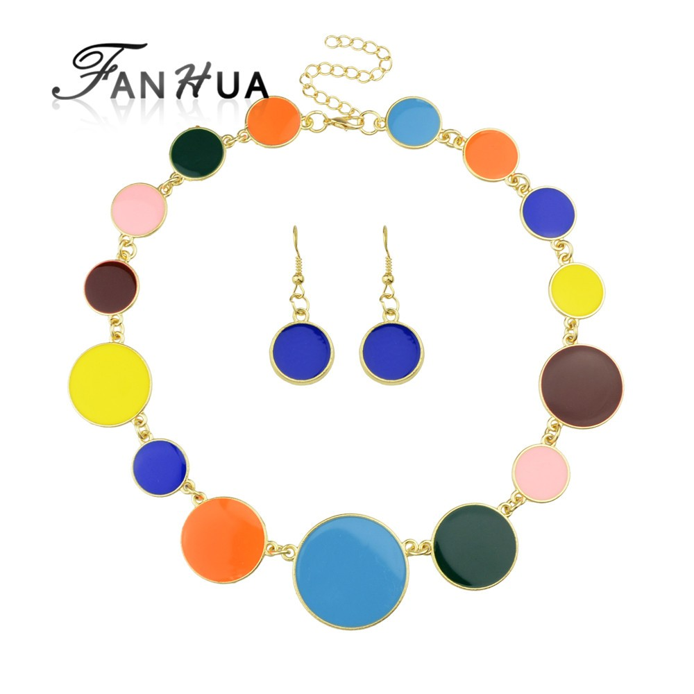 Bohemian Style Colorful Enamel Round Charms Necklace Earrings <strong>Set</strong>