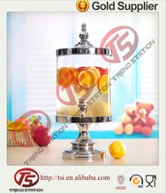 Elegance standing water dispenser, cold glass beverage dispenser with tap and iron stand,glass water jar