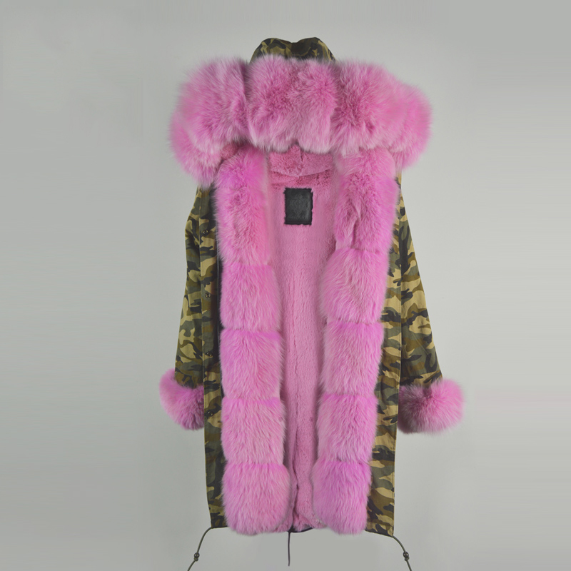 2016 winter long parka for ladies winter wear, pink fur hoodies,cuffs,for ladies pink russia fur parka