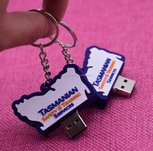 Wholesale customize 2D logo both sides soft pvc rubber usb keychain for promotional items