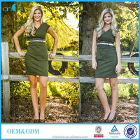 Olive color bodycon office dress school uniform for American teacher