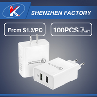 2 in 1 Durable Dual USB Wall Travel Charger Multi Port Cell Phone Fast Charger QC3.0 Mobile Charger Qualcomm QC 3.0 Quick Charge