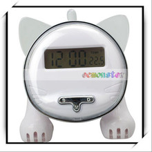 Creative Multifunction Kitty Voice Timekeeping Cheap Animal Shaped Alarm Clock White
