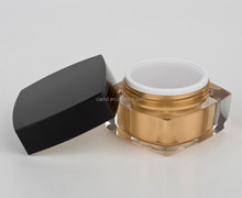 wholesale gold lastest design square 15g acrylic jar for cosmetic