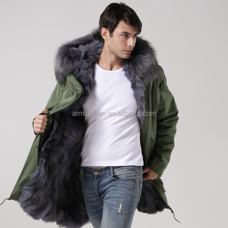 Promotion Latest new style real raccoon collar fur long men russian winter fox fur coat