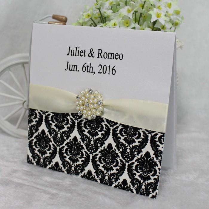 Customized Nice Particular DIY Brooch Card Elegant Wedding Invitations bd504e6a6ee7