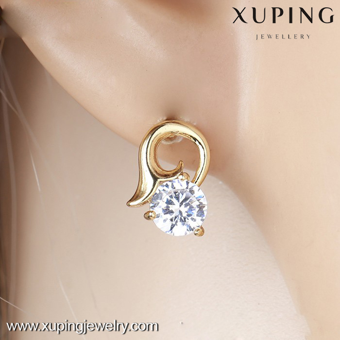 27536 xuping stud earring, 14k gold color latest cute girls earrings, daily wear earrings