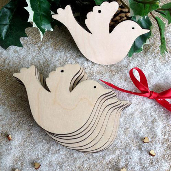 Many Shapes Wooden Christmas Tree Decoration Tag Wooden Wedding Party Embellishments Tag Art Crafts