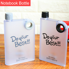 Square AS Plastic Customized 450ml Sport Portable Notebook Shape A5 notebook <strong>Flat</strong> Water Bottle