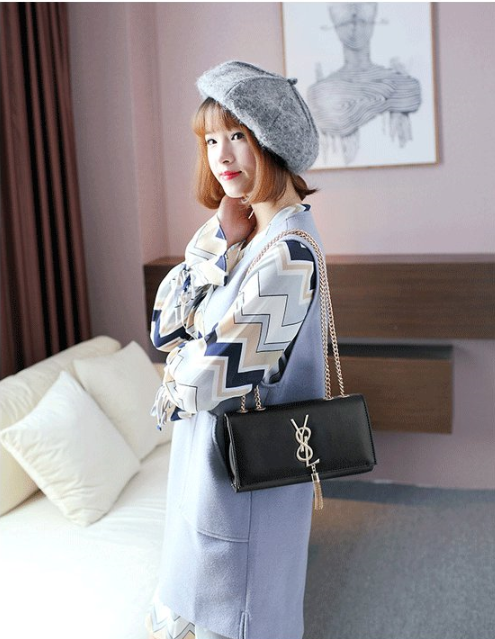 Female fashion new lady's one-shouldered small chain square bag