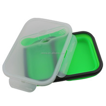 2-Compartment Eco Collapsible Silicone Lunch Box Travel Food Grade Folding Portable Lunch Boxes Container