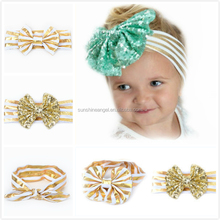 2016 New Hot Sale Baby Girls Kids Gold Stripe Turban Bowknot Hairband Baby <strong>Hair</strong> <strong>Accessories</strong>