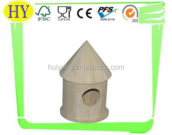 customized cheap unfinished wooden bird house