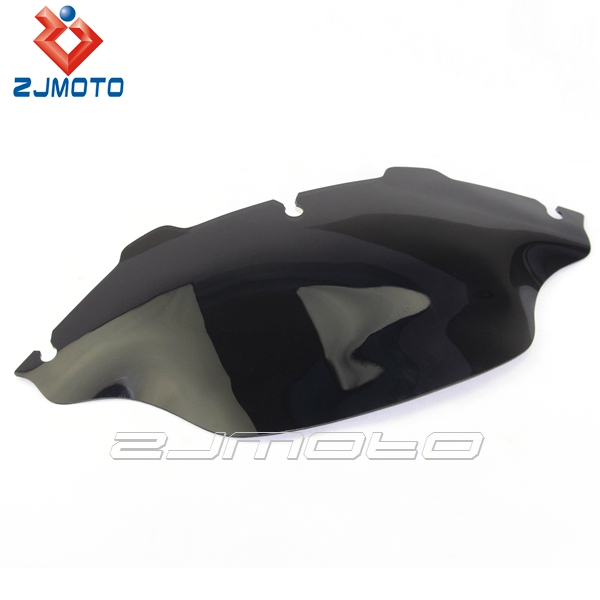 "ZJMOTO 9 1/2"" Wave Windscreen Smoke Dark ABS Motorcycle Windshield Fit To Harley Glide FLHT FLHTC FLHX"
