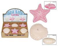 SEALIFE CANDLE 2 ASSTD PINK-IVORY DISPLAY OF 12