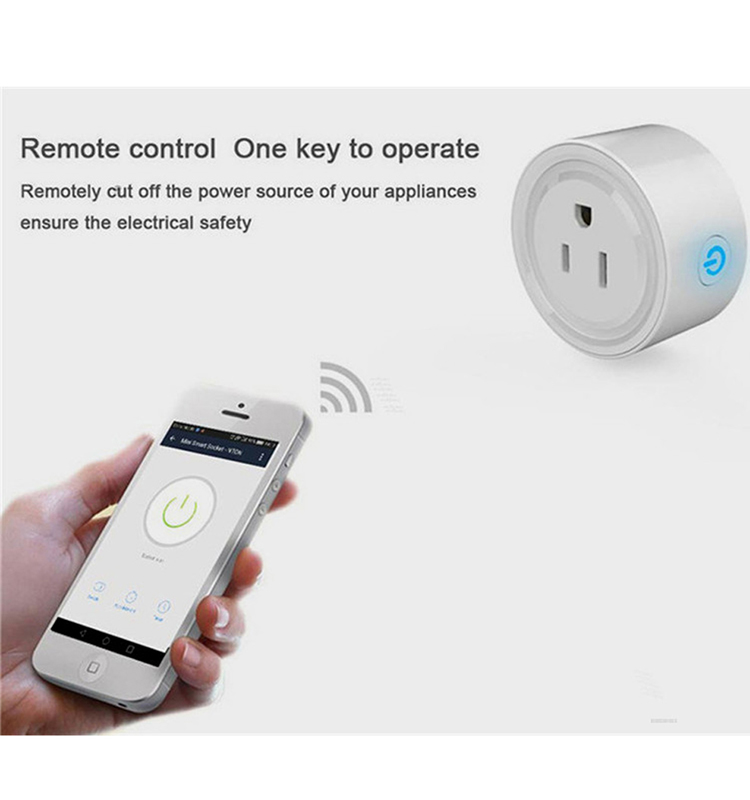 10A Round Shape WiFi Mini APP Remote Control Timing Smart Socket