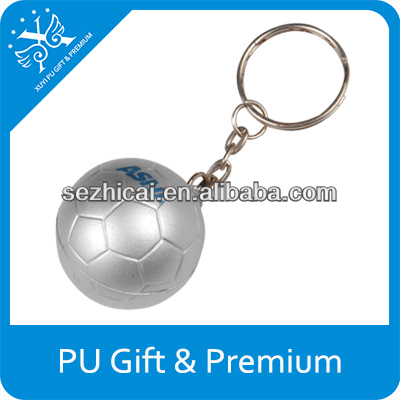 New gift premium logo customized silver soft squeezing pu mini soccer stress ball shape key chains