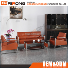 Modern luxury metal frame armrest design stainless steel italy brown leather office sofa set