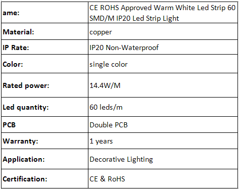 5050 LED Strip Light DC12V Warm White Double PCB hot sell IP65 outdoor