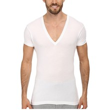 pima cotton elastane men's sexy v neck t shirt