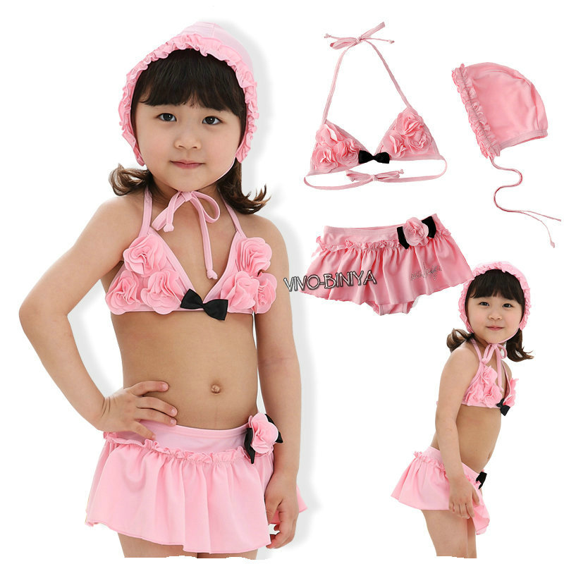 2015 New Girls Swimming Clothes Summer Style Pink Color Lovely Skirt Bathing Suit Sexy Kids Bikini Swimwear Hot Sale