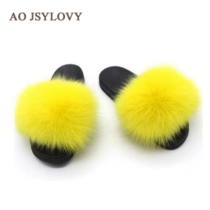 Wholesale New Design Women Luxury Fur Slides With Real Silver Fox Fur Slippers for Traveling Summer Fur Sandals Fashion Lady