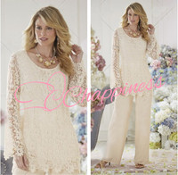 Elegant ivory lace two pieces fashion Casual mother of the bride dresses wholesale pants suit